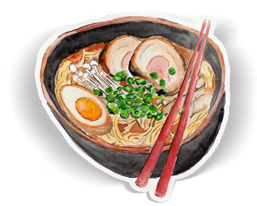 Japanese Ramen Vinyl Sticker, Japanese Ramen Sticker, Ramen Noodles Sticker, Noodles Vinyl Sticker, Ramen Laptop Decal, Asian Food Sticker
