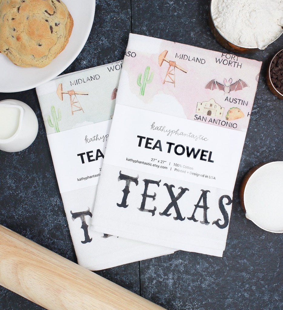 Texas Tea Towel, Texas Map Towel Texas Gift, Texas Housewarming Gift,  Flour Sack Towel, Texas Kitchen Towel - PREORDER