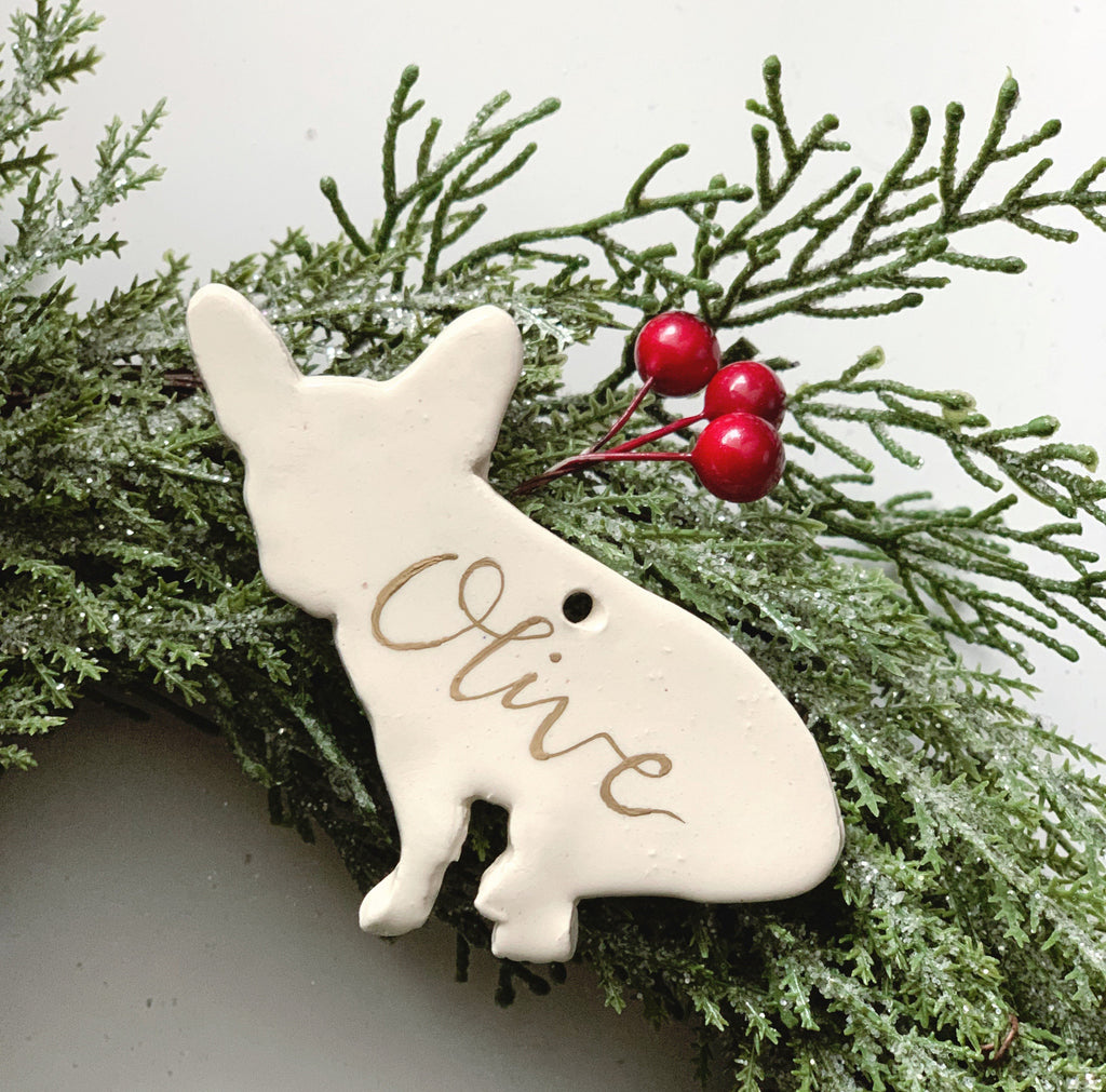 French Bulldog Ornament, Ceramic French Bulldog Ornament, Personalized French Bulldog Ornament, Personalized Frenchie Christmas Ornaments