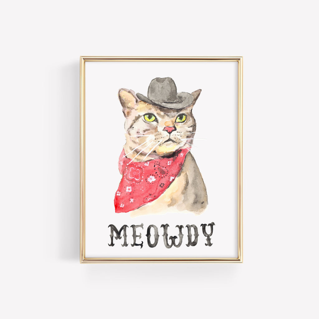 Meowdy Cowboy Cat Art Print