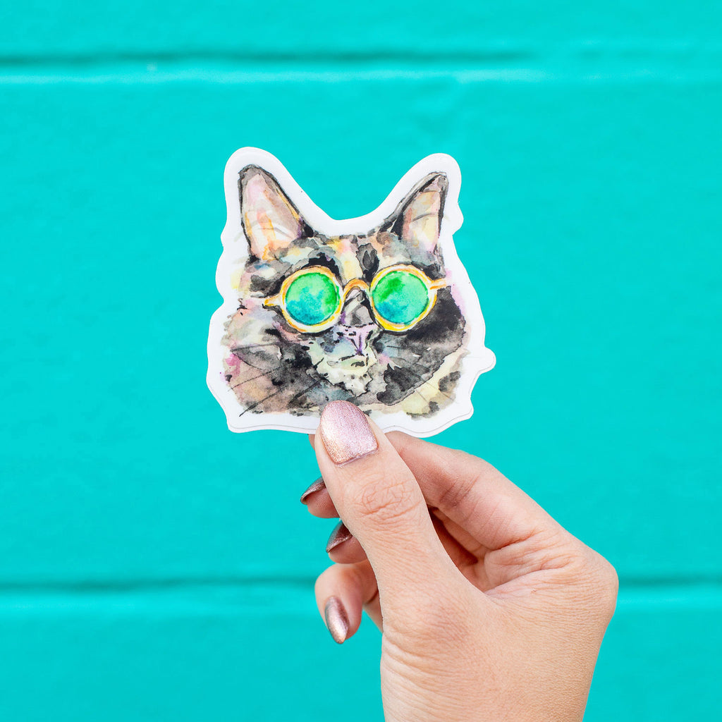 Watercolor Vinyl Cat Sticker, Cat Die Cut Vinyl Sticker, Cat Decal, Cute Cat Stickers, Laptop Sticker, Tumbler Sticker, Water Bottle Sticker