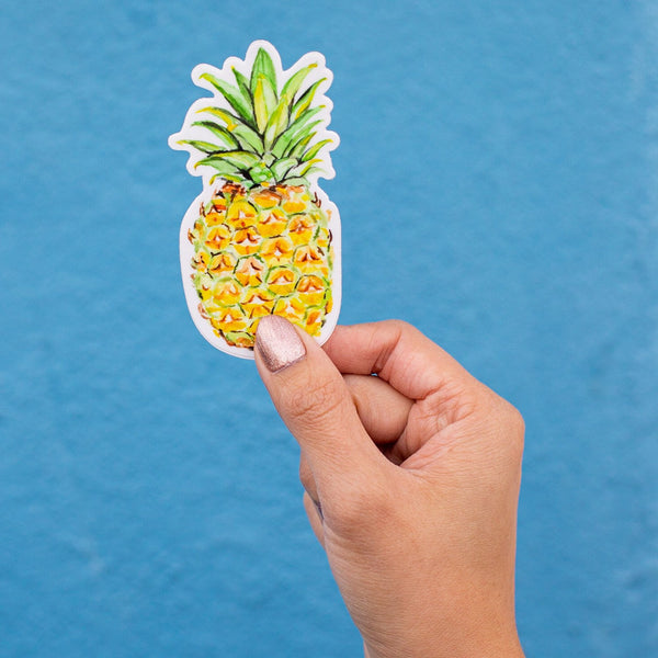 Watercolor Pineapple Sticker, Hawaii Laptop Sticker, Pineapple Vinyl Sticker, Water Bottle Sticker, Tumbler Sticker, Computer Stickers