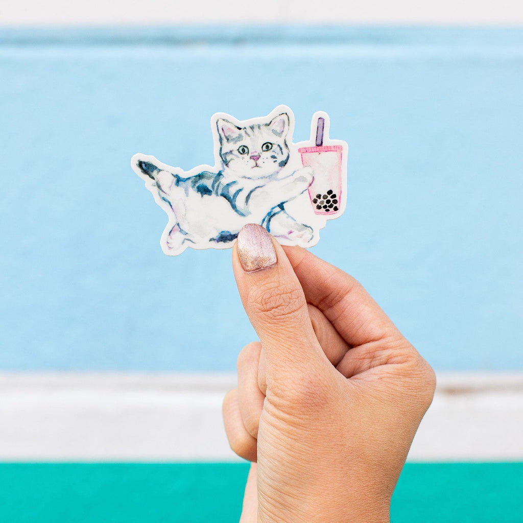 Bubble Tea Cat Sticker, Boba Tea Sticker, Boba Milk Tea Cat Sticker, Cat Boba Tea, Boba Tea Cat Vinyl Sticker, Cat Die Cut Sticker