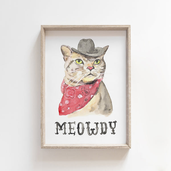 Meowdy Texas Print,  Texas Art Print, Texas Wall Art, Texas Nursery Decor, Funny Cat Art, Cowboy Gifts