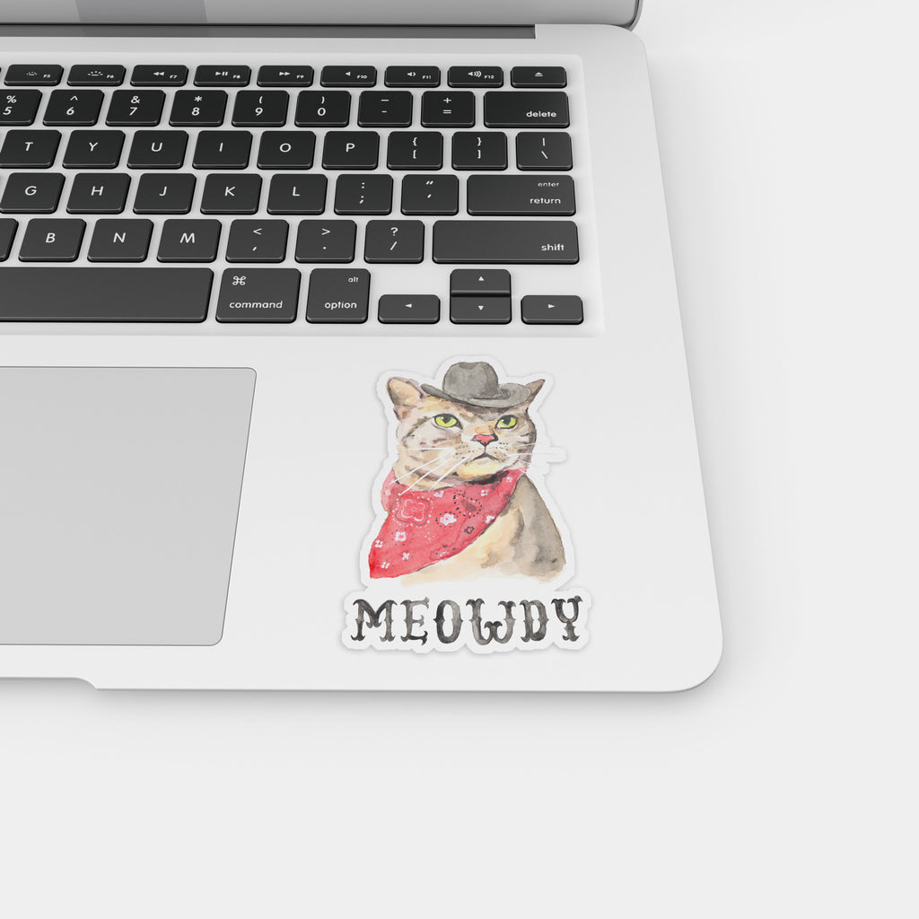 Meowdy Cat Vinyl Sticker, Cowboy Cat Decal, Texas Decal, Texas Vinyl Stickers, Texas Laptop Sticker, Tumbler Sticker