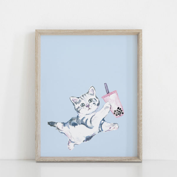 Bubble Tea Cat Art Print