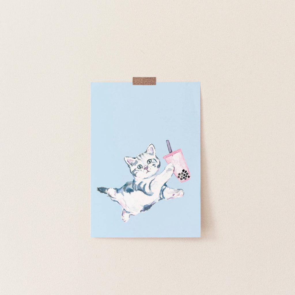 Bubble Tea Print, Boba Tea Art, Cute Cat Poster, Dorm Wall Art 8x10