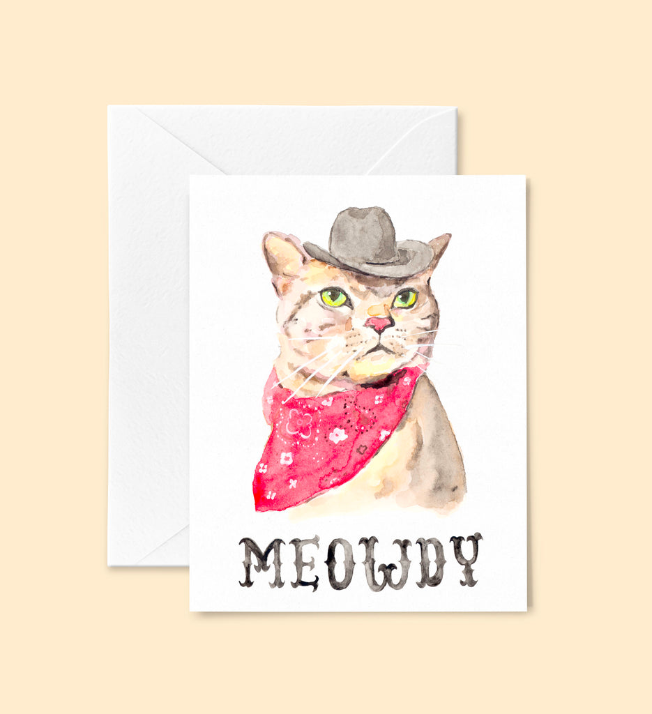 Meowdy Cat Greeting Card Set, Texas Cowboy Cat Notecard Set 6 Cards, Funny Cat Card, Texas Cat, Texas Cards Blank Inside