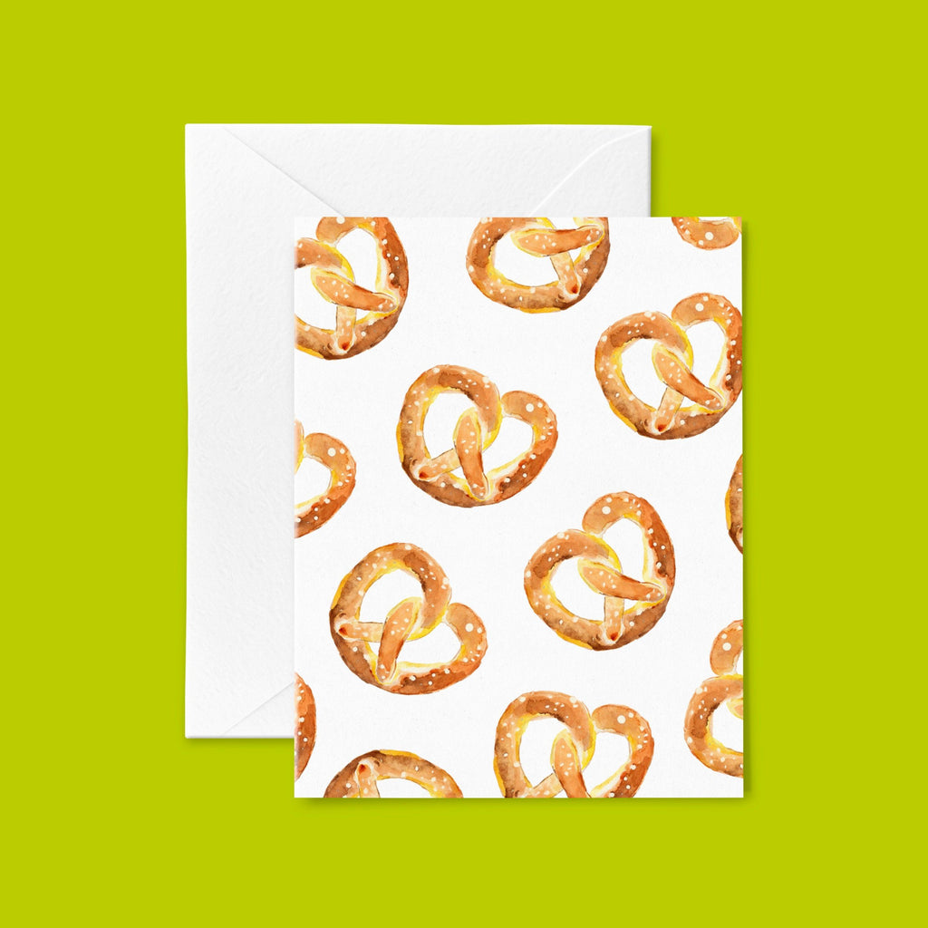 Pretzel Greeting Card, New York City Stationery, Philly Greeting Card, Junk Food Foodie Cards, Note Card