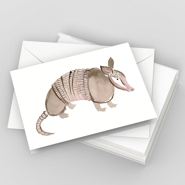Armadillo Texas Greeting Card Set, Illustrated Texas Note Card Set, Austin Texas Gift, Stationery Set of 6 Cards