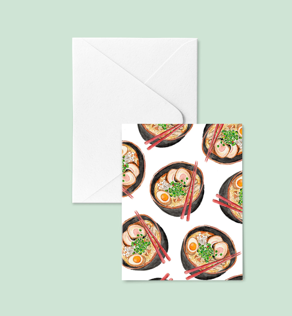 Ramen Note Card Set, Ramen Noodle Greeting Cards, Asian Noodles Stationery Set, Note Card