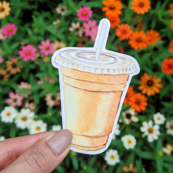 Iced Coffee Vinyl Sticker, Cute Coffee Stickers, Waterproof Stickers