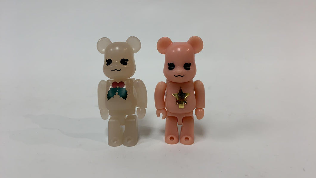 BEARBRICK 100% 2003 XMAS TWIN SET PINK/CLEAR-WHITE
