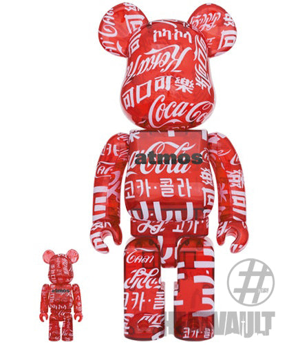 Bearbrick Atmos x Coca-Cola 100% & 400% Set Clear/Red