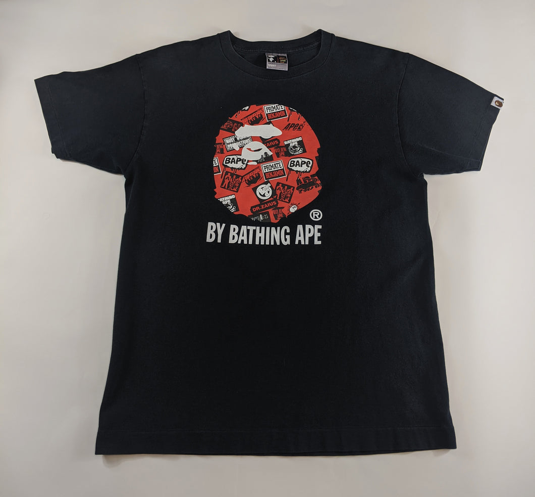 Bape Head Orange Black T-Shirt