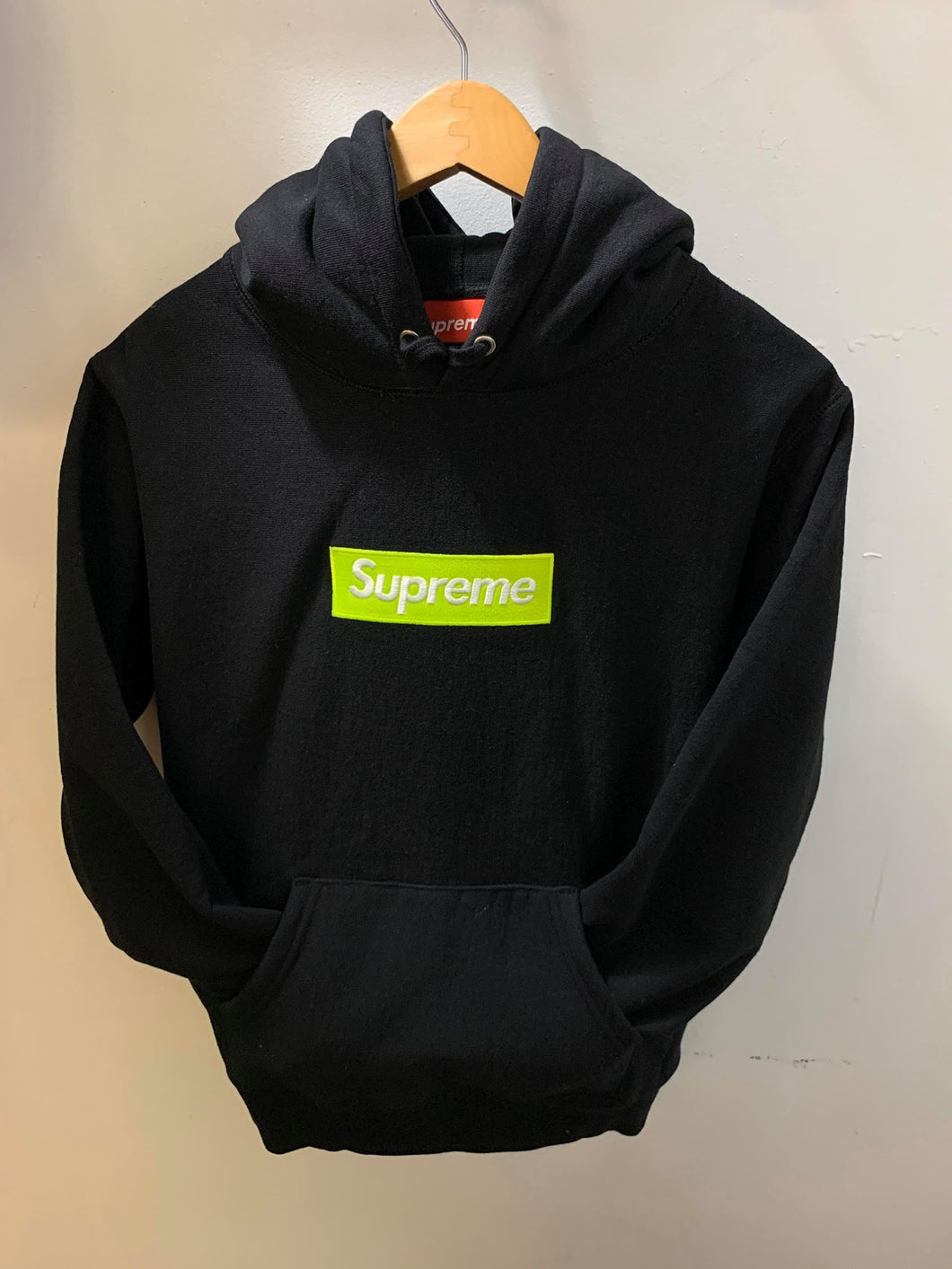 Supreme FW17 Lime Green on Black Hoodie