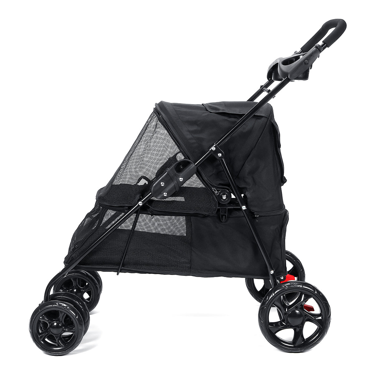 Folding Pet Stroller 4 Wheeled Dog Cat Carrier Stroller