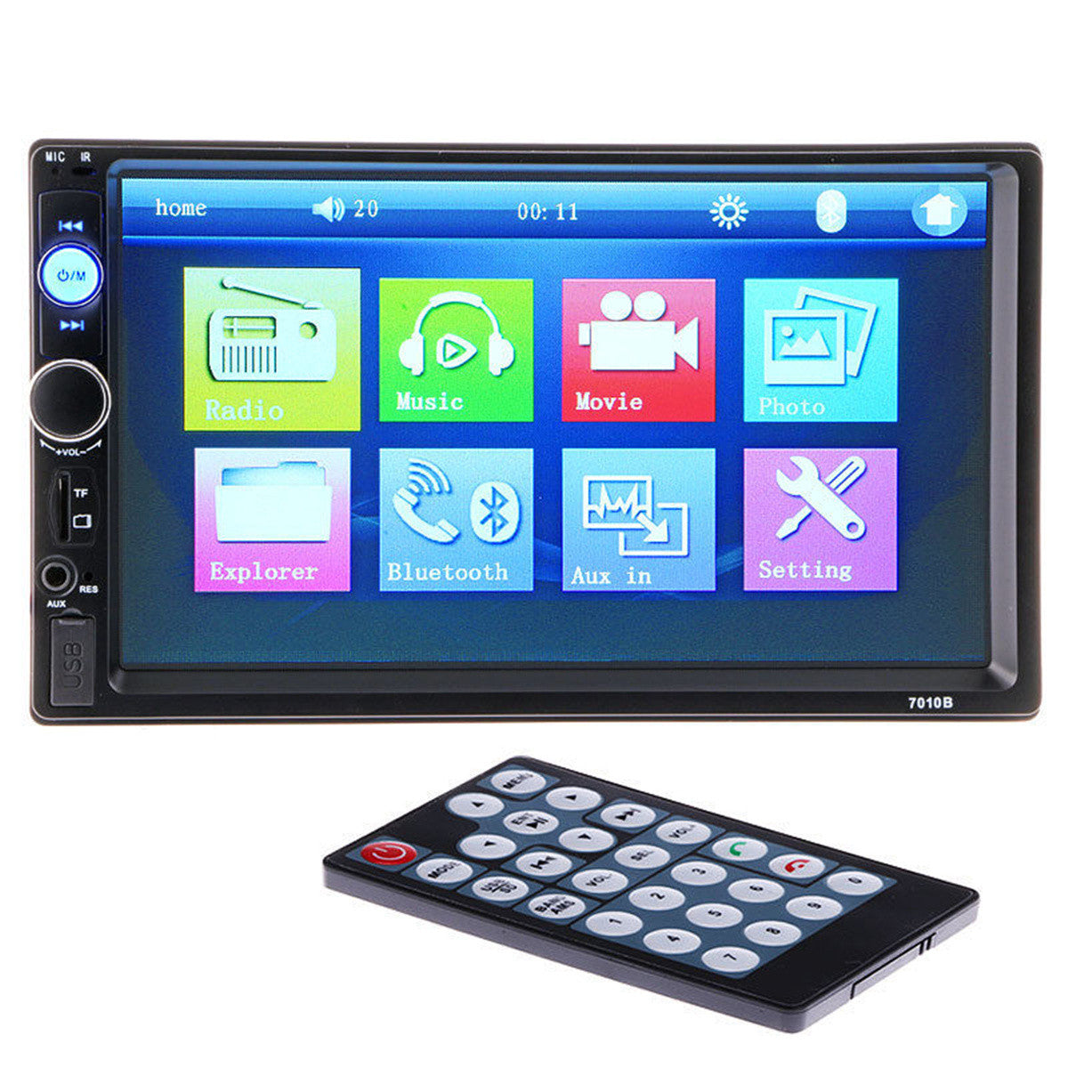 7 Inch Car Radio With Bluetooth , Touch Screen , AUX And Camera