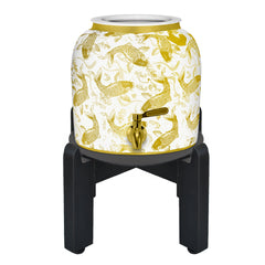GEO Ceramic Crock with Gold Fish Design and Wood Stand