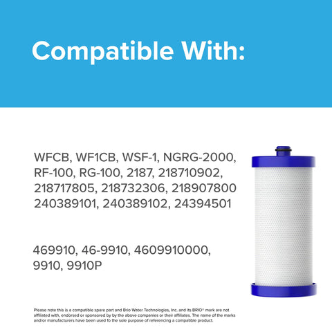 Brio WF1CB Refrigerator water filter Replacement for Frigidaire PureSource WF1CB, WFCB, NGRG2000, WF284, Kenmore 9910