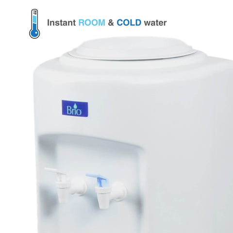 Room Temp and Cold Water Dispenser Cooler Top Load, Cook and Cold, White, Brio Essential - water cooler