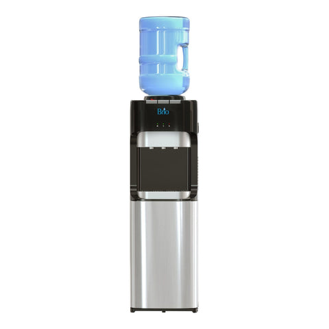 Hot Cold and Room Temp Water Dispenser Cooler Top Load, Tri Temp, Black and Stainless Steel, Brio Essential - water cooler
