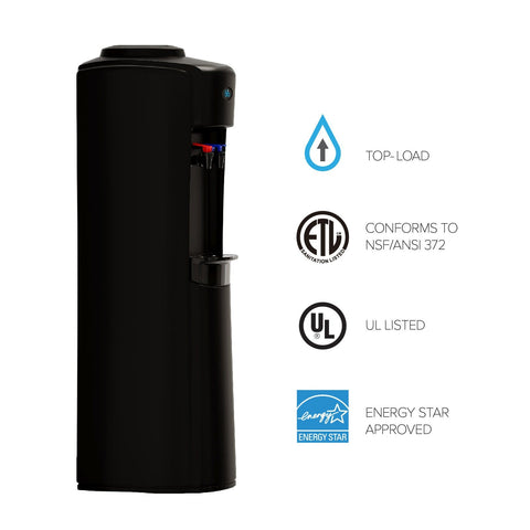 Curved Top-Load Water Cooler - Black - water cooler