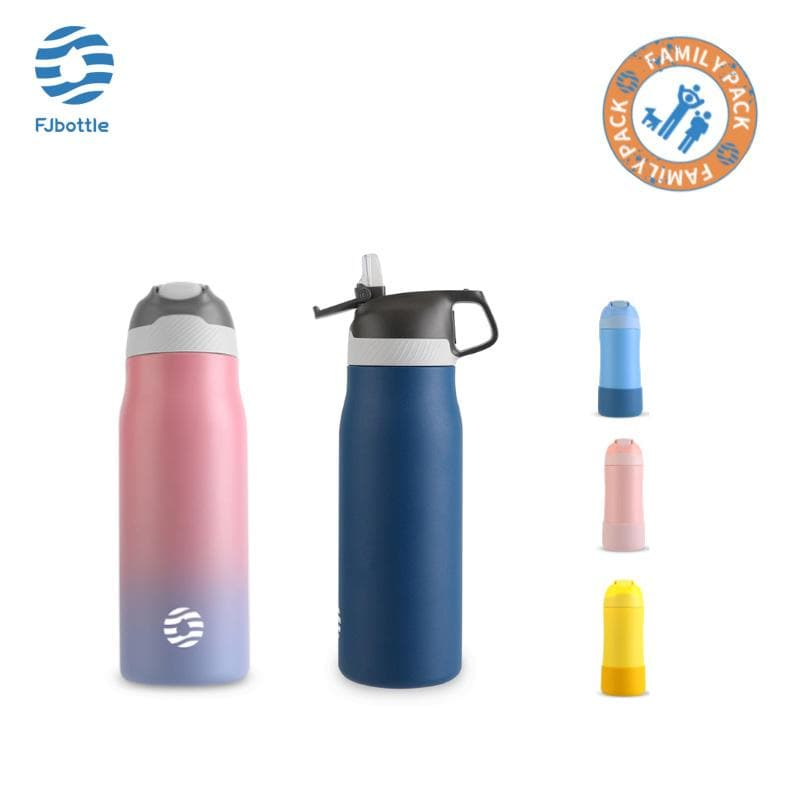 Vacuum Bottle Pack of 5, 2 21oz Water Bottles(Dark Blue, Ombre Pink), 3 14oz Kids Bottles(Blue, Pink, Yellow) - FJBottle