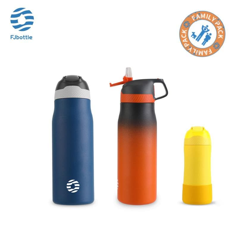 Vacuum Insulated Water Bottle Family Package Pack of 3 - FJBottle