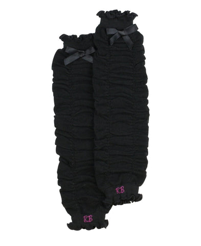 Black Gathered Leg Warmers