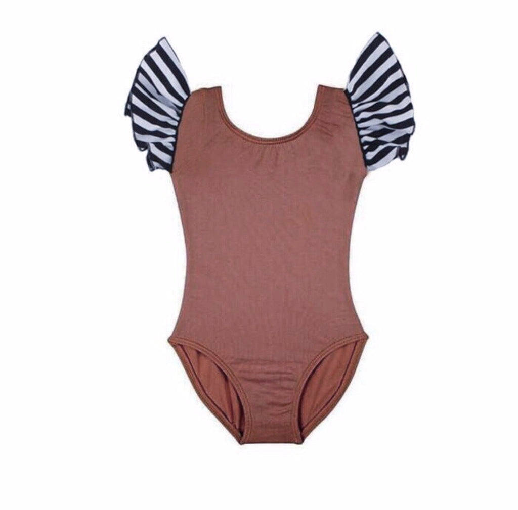 Flutter Sleeve Leotard - Copper Brown & Striped Sleeves