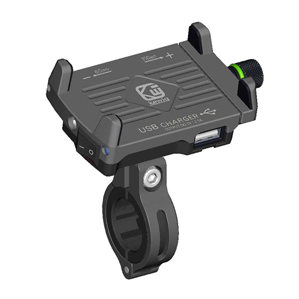 Aluminum Phone Holder Handlebar Mount with 360 Degree Rotation and USB Fast Charge For Motorcycle, Scooters, and Bicycles