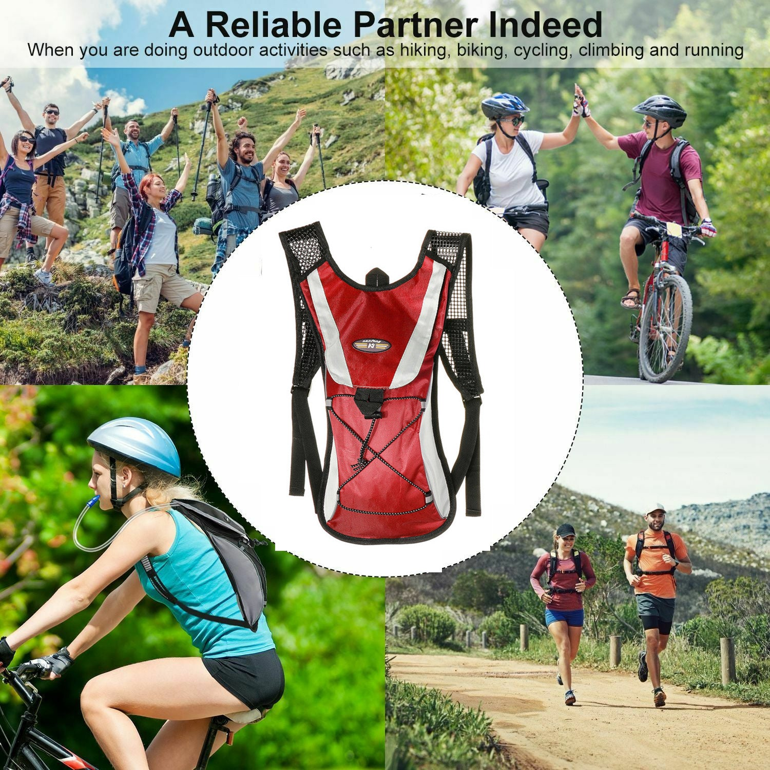Hydration Pack Sport Backpack for Hiking Biking Walking Running Climbing Fitness Equipment with 2 liter Water Bladder