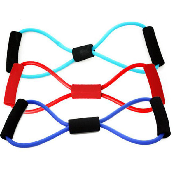 Resistance Exercise Band 3-Pack Stretch Figure 8 Shape Fitness Exercise Equipment Yoga