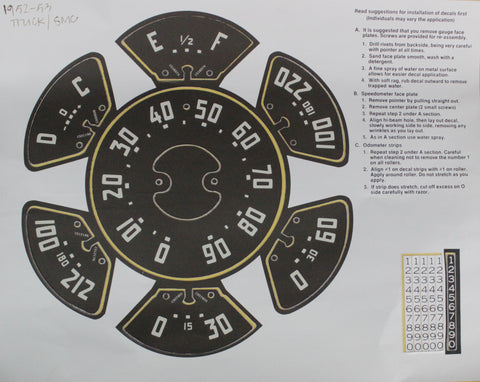 DD08-GM | 1952-53 GMC Instrument Panel Decal Kit