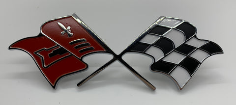 "FE58-V | 1958-60 Corvette Fender Emblems ""X-Flags"""