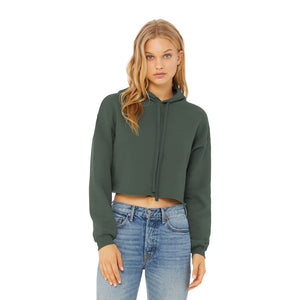 Cropped Hoodie Military Green | Pretty Messed Up - Inside Hood