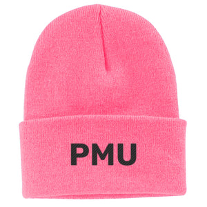 PMU Embroidered Beanie - Pink with black thread
