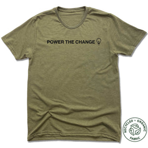 HUMANITY AND HOPE | UNISEX OLIVE Recycled Tri-Blend | POWER THE CHANGE BULB
