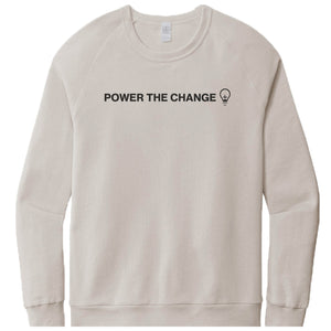 HUMANITY AND HOPE | LIGHT GRAY FRENCH TERRY SWEATSHIRT | POWER THE CHANGE BULB