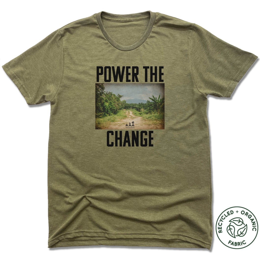 HUMANITY AND HOPE | UNISEX OLIVE Recycled Tri-Blend | POWER THE CHANGE PHOTO