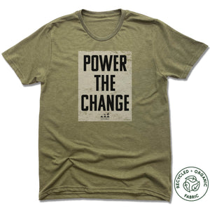 HUMANITY AND HOPE | UNISEX OLIVE Recycled Tri-Blend | POWER THE CHANGE BLOCK
