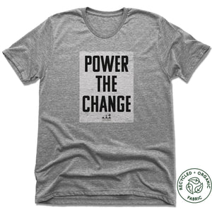 HUMANITY AND HOPE | UNISEX GRAY Recycled Tri-Blend | POWER THE CHANGE BLOCK