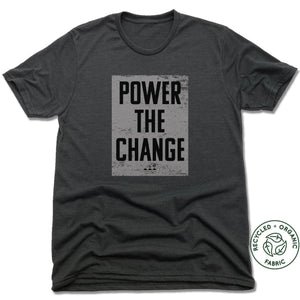HUMANITY AND HOPE | UNISEX Heather Black Recycled Tri-Blend | POWER THE CHANGE BLOCK