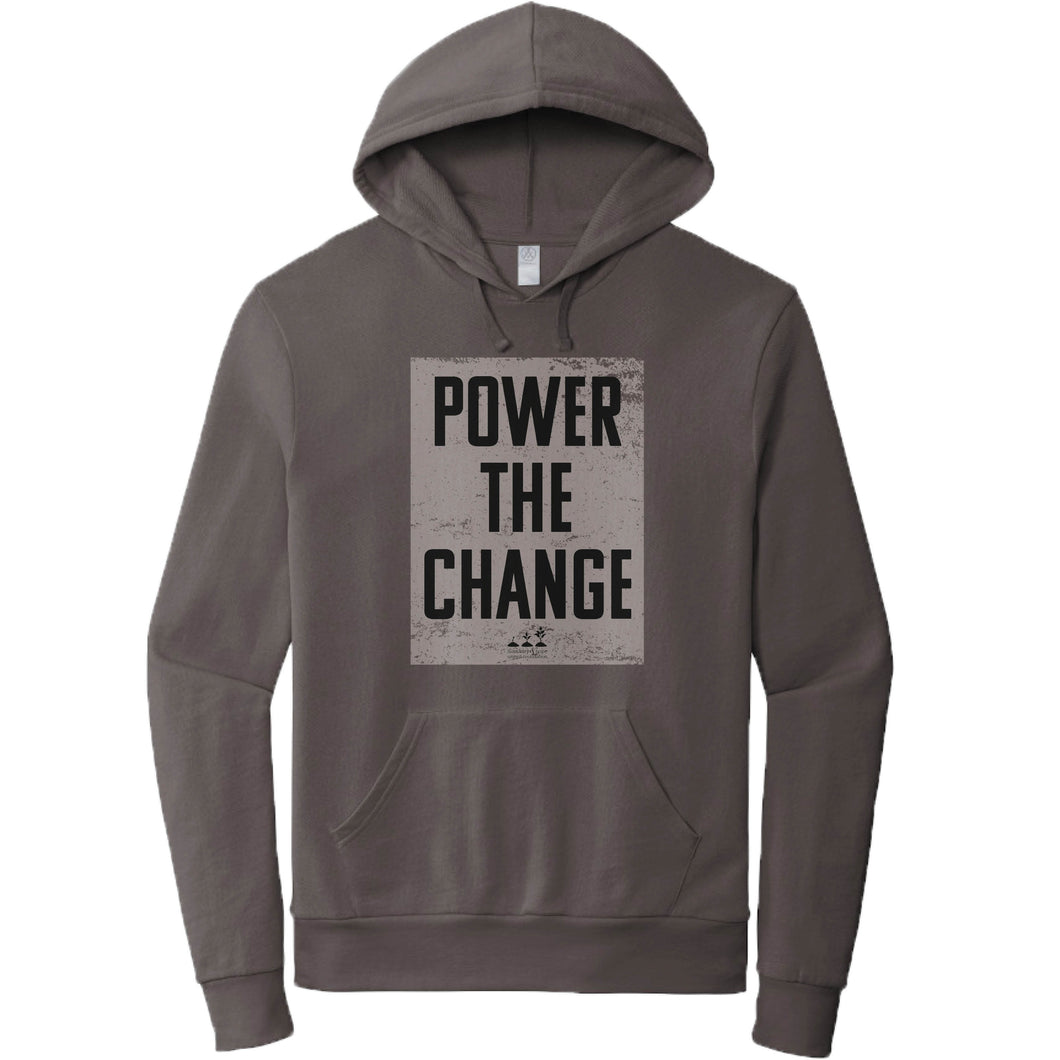 HUMANITY AND HOPE | DARK GRAY FRENCH TERRY HOODIE | POWER THE CHANGE BLOCK