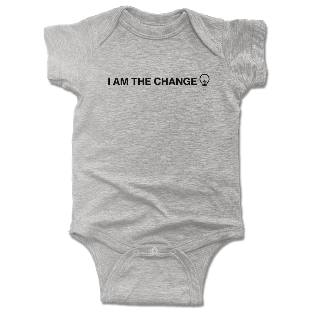 HUMANITY AND HOPE | GRAY ONESIE | I AM THE CHANGE BULB
