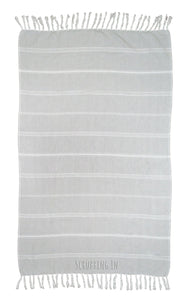 Scrubbing In - Embroidered Turkish Towel - Gray