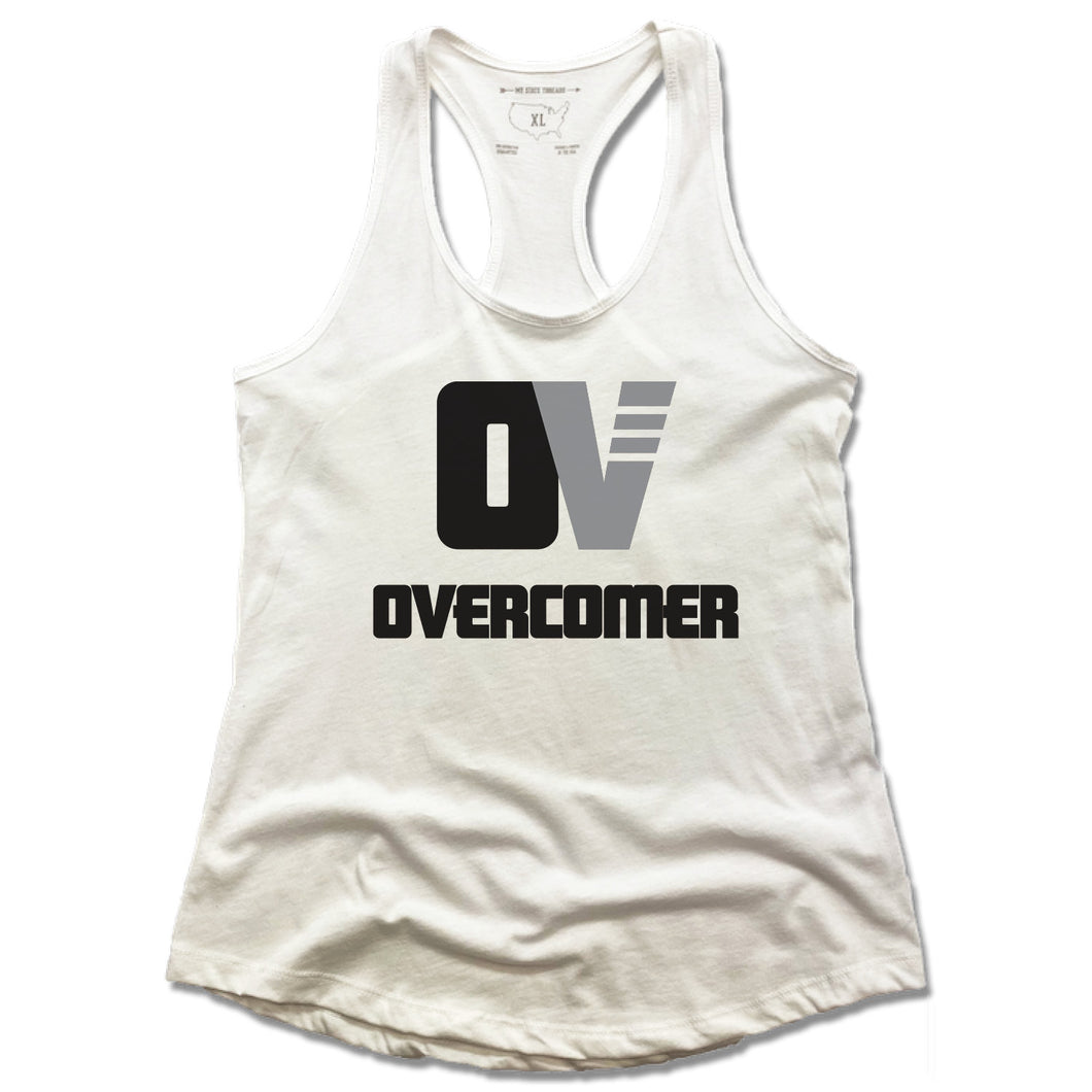 OVERCOMER | LADIES WHITE TANK | BLACK OV LOGO