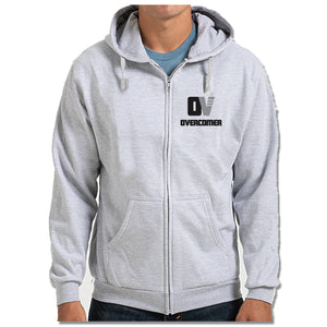 OVERCOMER | LIGHT GRAY ZIP HOODIE | BLACK OV LOGO