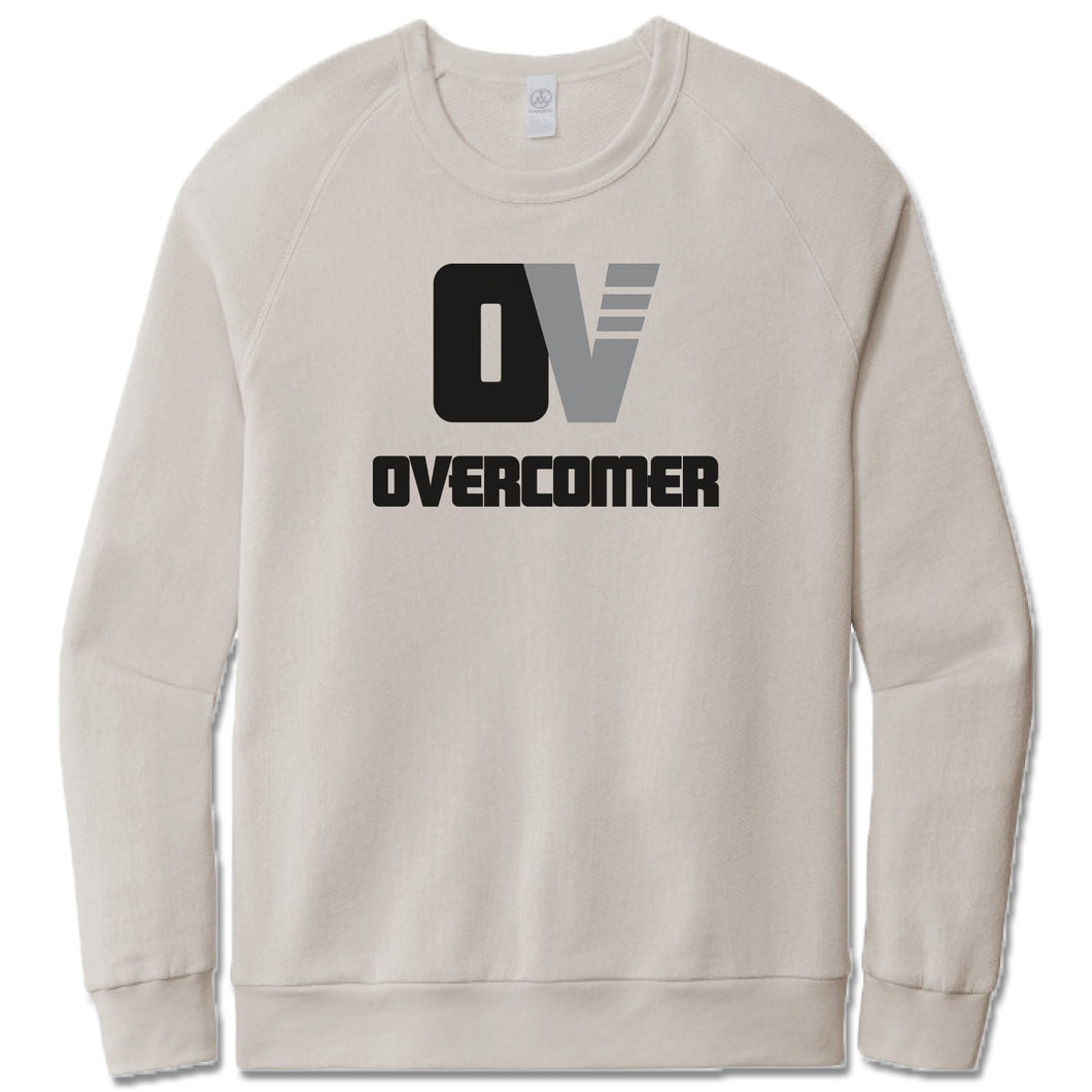 OVERCOMER | LIGHT GRAY FRENCH TERRY SWEATSHIRT | BLACK OV LOGO